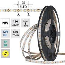 LED pásek  9,6W/m 12VDC 4200K 880lm pásek 8mm 120LED IP20 CRI90