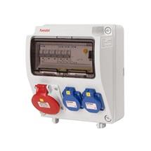 Zásuvková skříň 2x230V,1x400V/16A, jističe,chránič,IP44