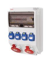 Zásuvková skříň 4x230V,1x400V/16A,1x400V/32A, jističe,chránič,IP44